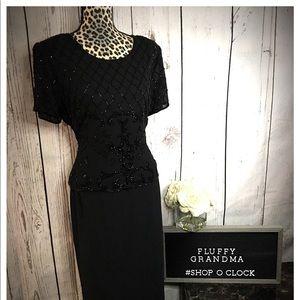 R&M Black Beaded Formal Dress 12P